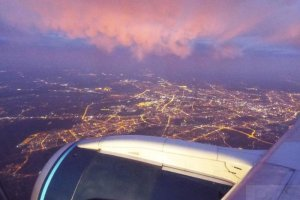 warsaw at night seen from a jet aircraft.JPG