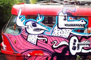 Lvov Old Tramway Funny Monsters Graffiti